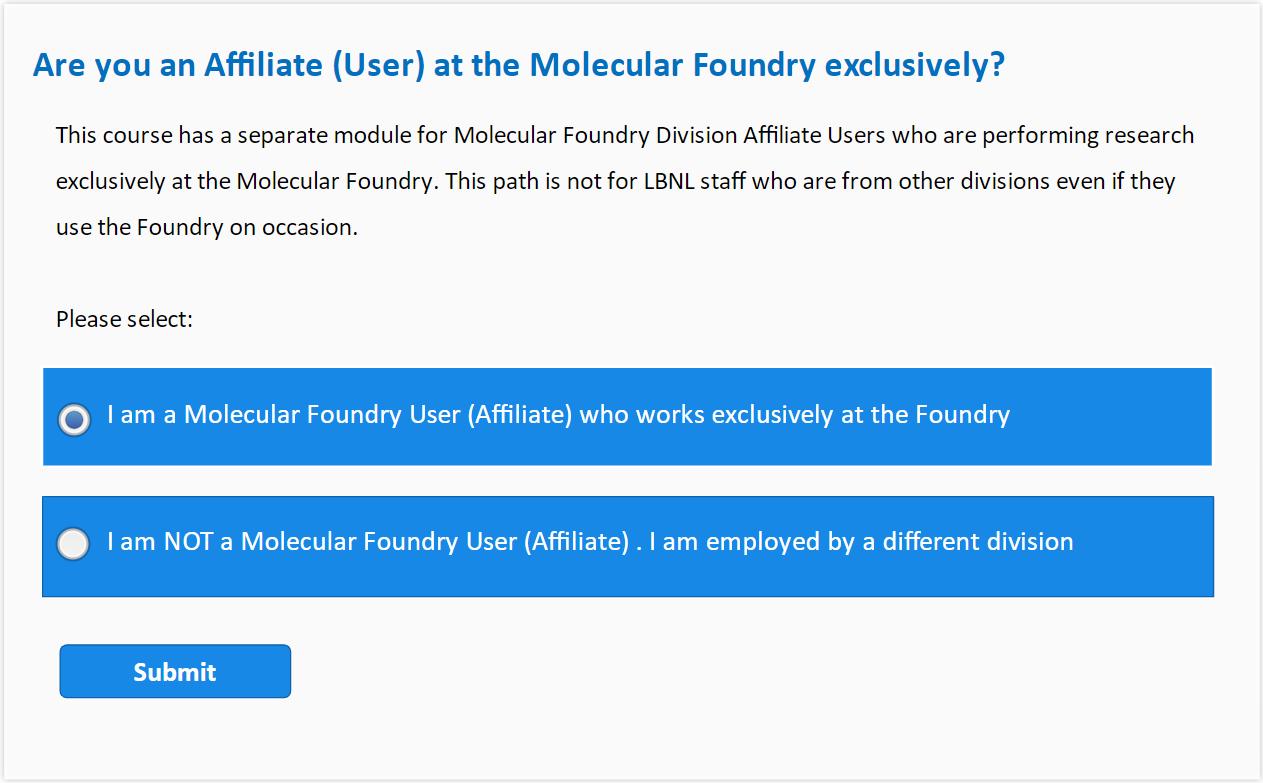 """Choose """"I am a Molecular Foundry User"""""""