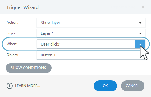 """The """"when"""" parameter on the trigger wizard determines where the trigger is located in the Triggers panel"""