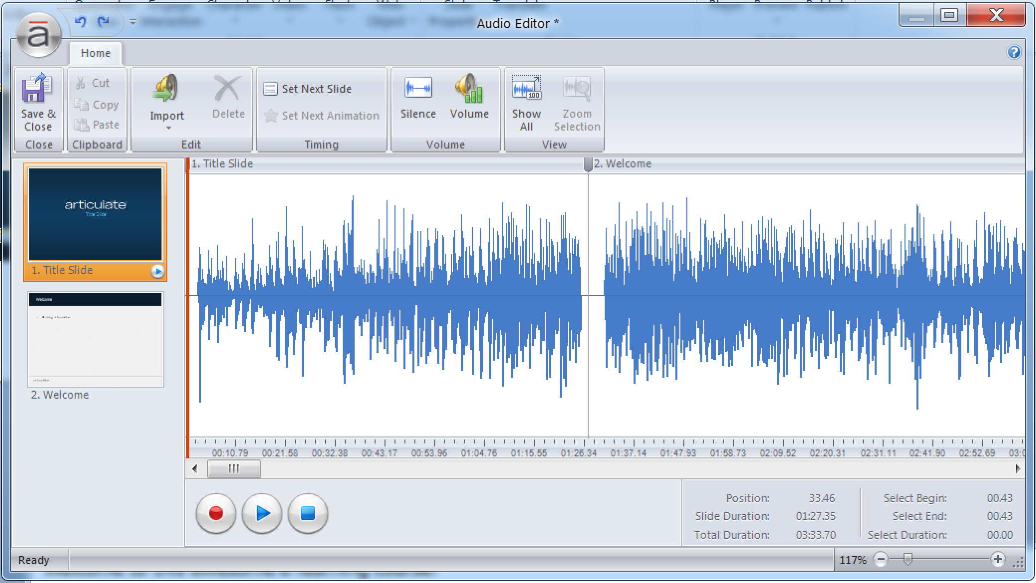 Audio Editor Window